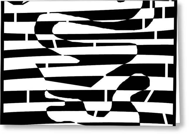 Unicellular Drawings Greeting Cards - Abstract Distortion Amoeba Blobs Greeting Card by Yonatan Frimer Maze Artist