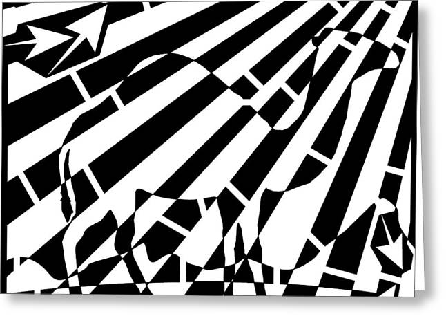 Distortion Drawings Greeting Cards - Abstract Distortion Camel Maze  Greeting Card by Yonatan Frimer Maze Artist
