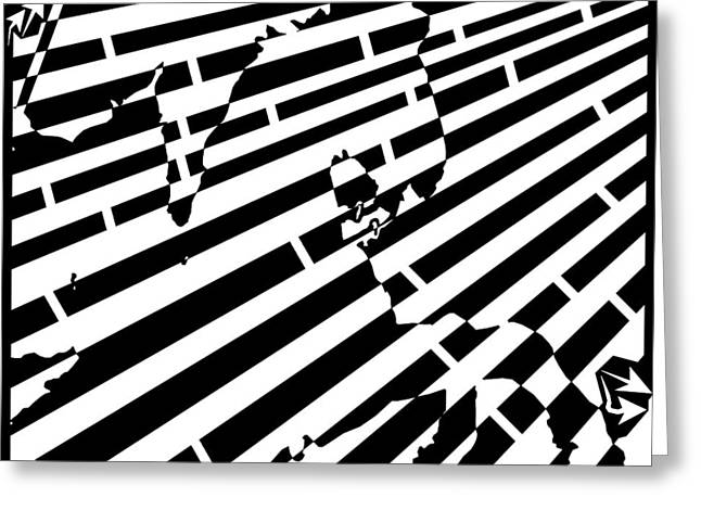 Distortion Drawings Greeting Cards - Abstract Distortion Cavalry Maze  Greeting Card by Yonatan Frimer Maze Artist