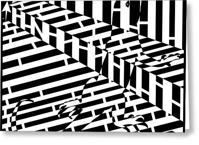 Distortion Drawings Greeting Cards - Abstract Distortion Chameleon Maze  Greeting Card by Yonatan Frimer Maze Artist