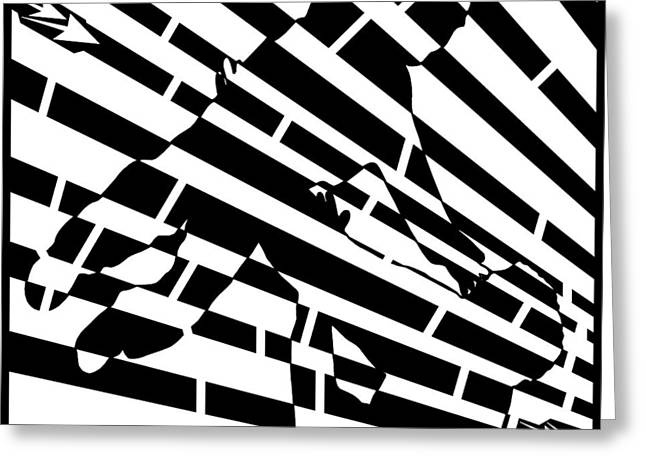 Distortion Drawings Greeting Cards - Abstract Distortion Childhood Joy Maze Greeting Card by Yonatan Frimer Maze Artist