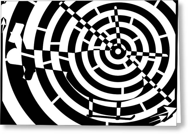Distortion Drawings Greeting Cards - Abstract Distortion Helicopter Maze Greeting Card by Yonatan Frimer Maze Artist