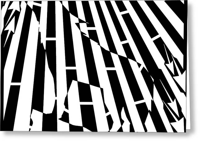 Distortion Drawings Greeting Cards - Abstract Distortion Howling Wolf Maze  Greeting Card by Yonatan Frimer Maze Artist
