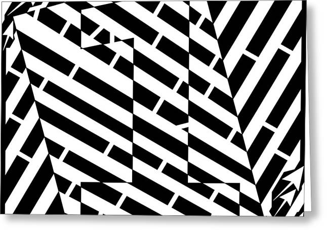 Distortion Drawings Greeting Cards - Abstract Distortion Number One Maze Greeting Card by Yonatan Frimer Maze Artist