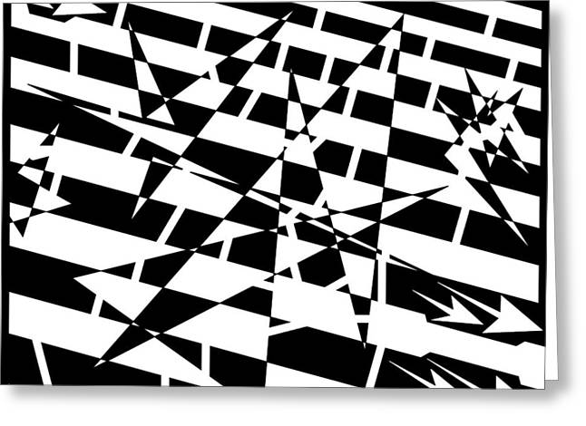 Distortion Drawings Greeting Cards - Abstract Distortion of Weakly Interactive Massive Particles Maze  Greeting Card by Yonatan Frimer Maze Artist