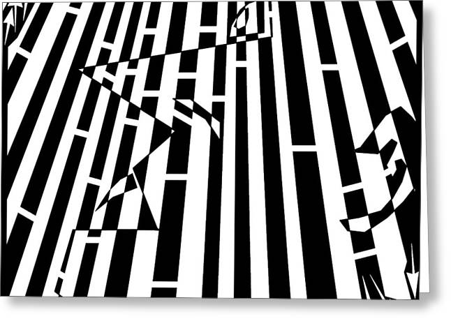 Distortion Drawings Greeting Cards - Abstract Distortion Sanguivoriphobia Maze Greeting Card by Yonatan Frimer Maze Artist