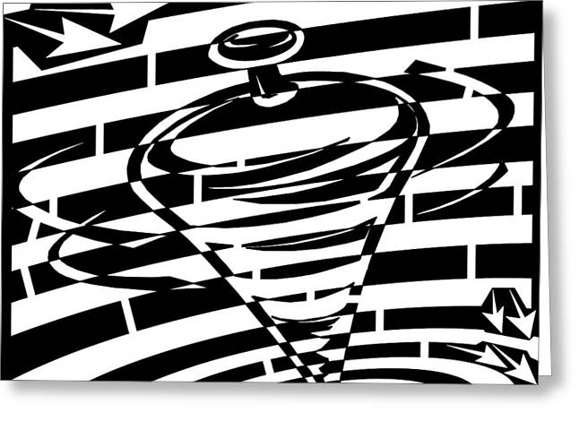 Distortion Drawings Greeting Cards - Abstract Distortion Spinning Top Maze Greeting Card by Yonatan Frimer Maze Artist