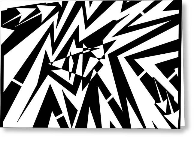 Distortion Drawings Greeting Cards - Abstract Distortion Tear in Time Space Maze  Greeting Card by Yonatan Frimer Maze Artist