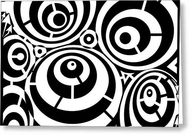 Distortion Drawings Greeting Cards - Abstract Distortion Three Spins Maze Greeting Card by Yonatan Frimer Maze Artist
