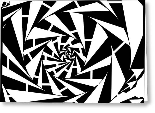 Distortion Drawings Greeting Cards - Abstract Distortion Wobbly Maze  Greeting Card by Yonatan Frimer Maze Artist