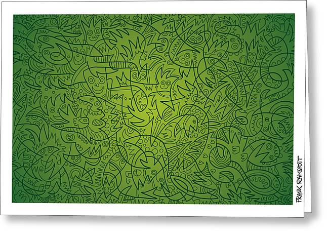 Abstract Doodle Faces Green Greeting Card by Frank Ramspott
