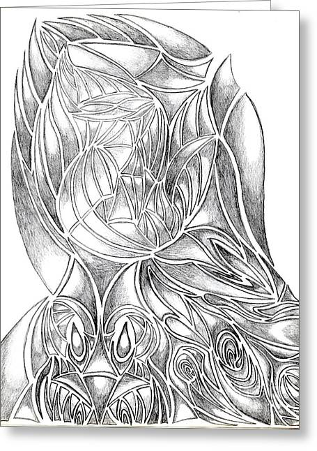 Praying Hands Greeting Cards - Abstract Drawing Owl Hands Roses Greeting Card by Minding My  Visions by Adri and Ray