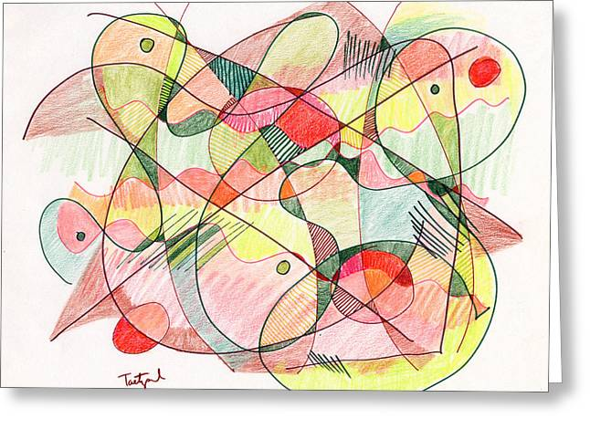 Organic Drawings Greeting Cards - Abstract Drawing Twenty Greeting Card by Lynne Taetzsch