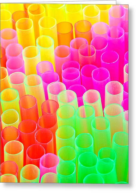 Brightly Colored Greeting Cards - Abstract Drinking Straws #2 Greeting Card by Meirion Matthias