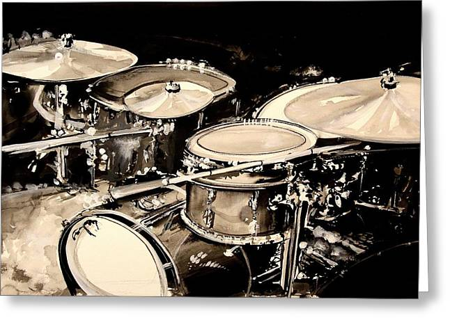 Abstract Drum Set Greeting Card by J Vincent Scarpace