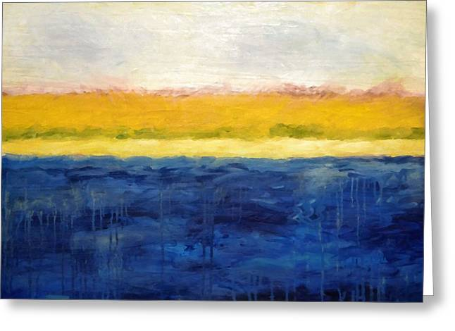 Abstract Seascape Art Greeting Cards - Abstract Dunes with Blue and Gold Greeting Card by Michelle Calkins