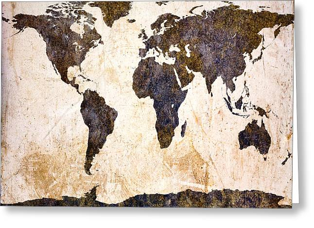 Steam-punk Greeting Cards - Abstract Earth Map Greeting Card by Bob Orsillo