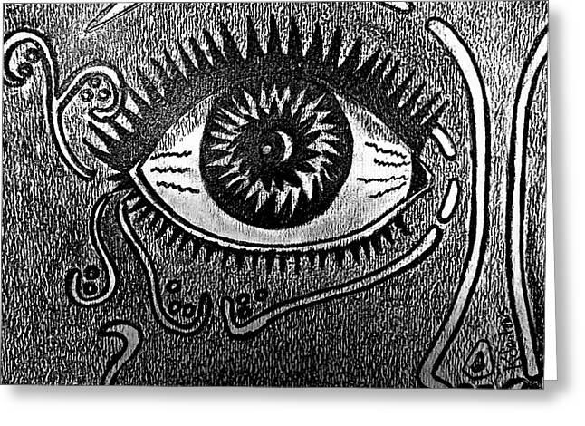 Eyelash Drawings Greeting Cards - Abstract Eye Greeting Card by Kathleen Sartoris