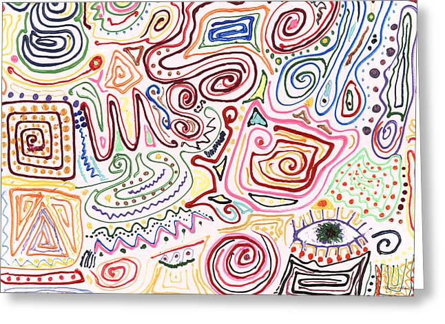 Wacky Greeting Cards - Abstract - Fabric Paint - Urban Society Greeting Card by Mike Savad