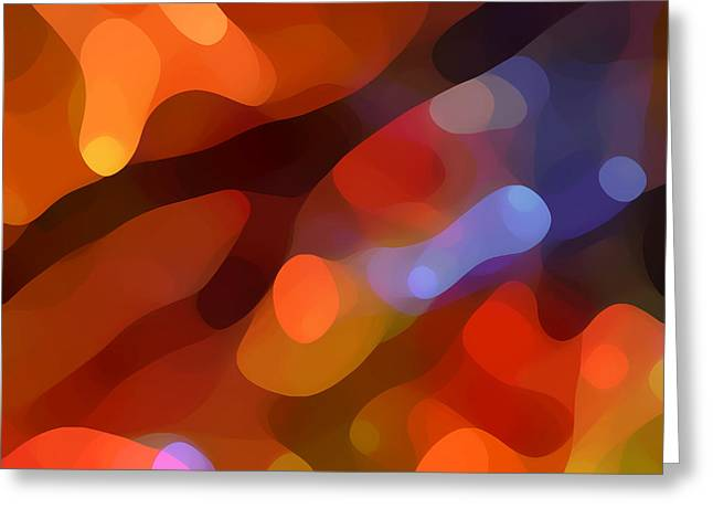 Red Abstracts Greeting Cards - Abstract Fall Light Greeting Card by Amy Vangsgard
