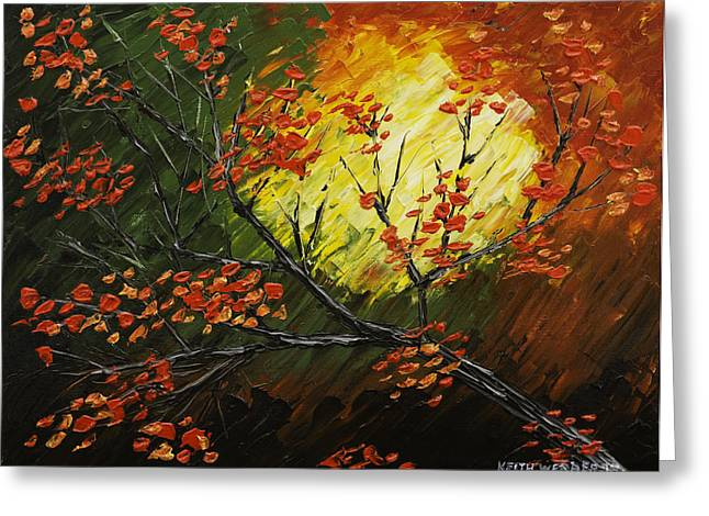 Fall Leaves Abstract Greeting Cards - Abstract Fall Tree Painting Greeting Card by Keith Webber Jr
