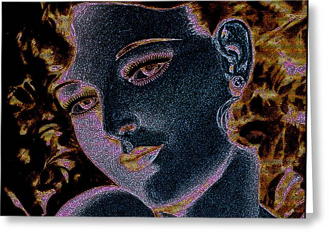 Decorative Greeting Cards - Abstract Female Portrait Greeting Card by Gary Grayson