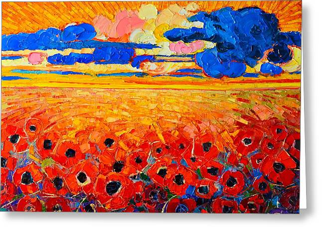 Sun Rays Paintings Greeting Cards - Abstract Field Of Poppies Under Cloudy Sunset  Greeting Card by Ana Maria Edulescu