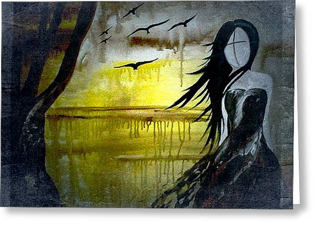Laura Carter Greeting Cards - Abstract Figurative Art Painting Letting Go Of Fear Greeting Card by Laura  Carter