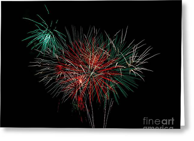 Purple Fireworks Greeting Cards - Abstract Fireworks Greeting Card by Robert Bales