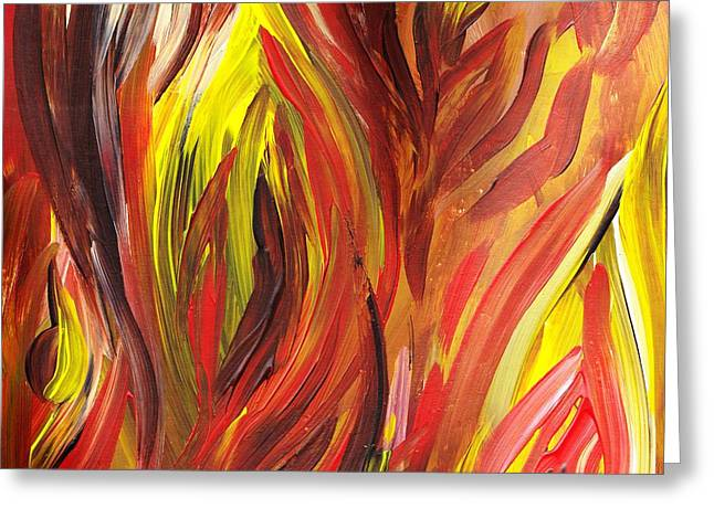 Emotions Greeting Cards - Abstract Flames Greeting Card by Irina Sztukowski
