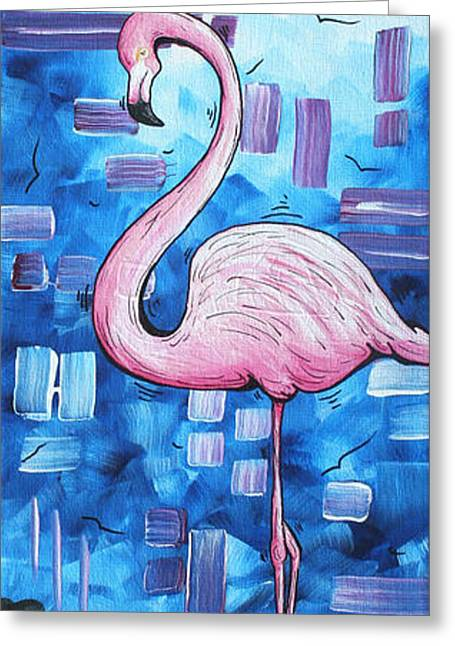Abstract Style Greeting Cards - Abstract Flamingo Tropical Art Original Painting FLAMINGO DREAMS by MADART Greeting Card by Megan Duncanson