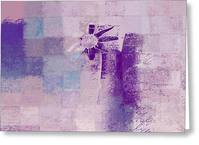 Purple Abstract Greeting Cards - Abstract Floral - a8v4at1a Greeting Card by Variance Collections