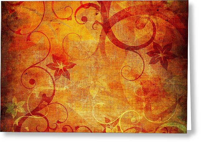 Texture Floral Pyrography Greeting Cards - Abstract floral background Greeting Card by Jelena Jovanovic