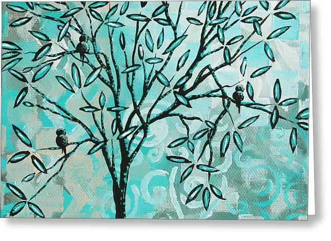 Abstract Floral Birds Landscape Painting Bird Haven II by Megan Duncanson Greeting Card by Megan Duncanson