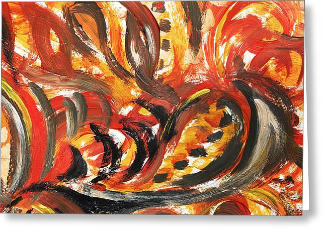 Autumn Decorations Greeting Cards - Abstract Floral Design Autumn Leaves Greeting Card by Irina Sztukowski