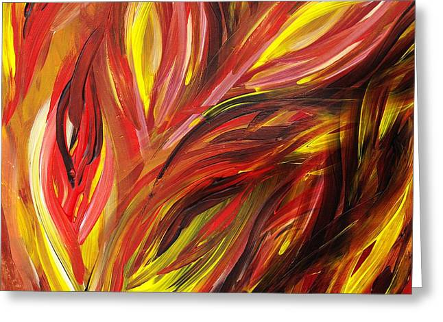 Bright Leaves Greeting Cards - Abstract Floral Flaming Leaves Greeting Card by Irina Sztukowski