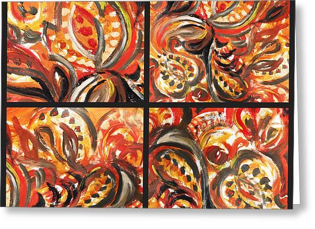 Abstract Floral Khokhloma Quartet Greeting Card by Irina Sztukowski