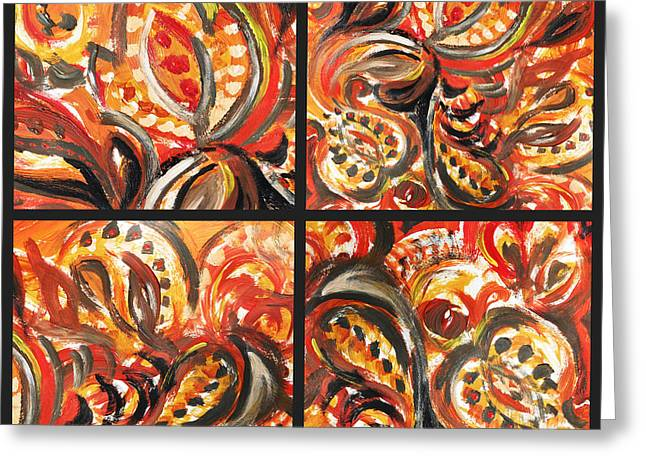 Beige Abstract Greeting Cards - Abstract Floral Khokhloma Quartet Greeting Card by Irina Sztukowski