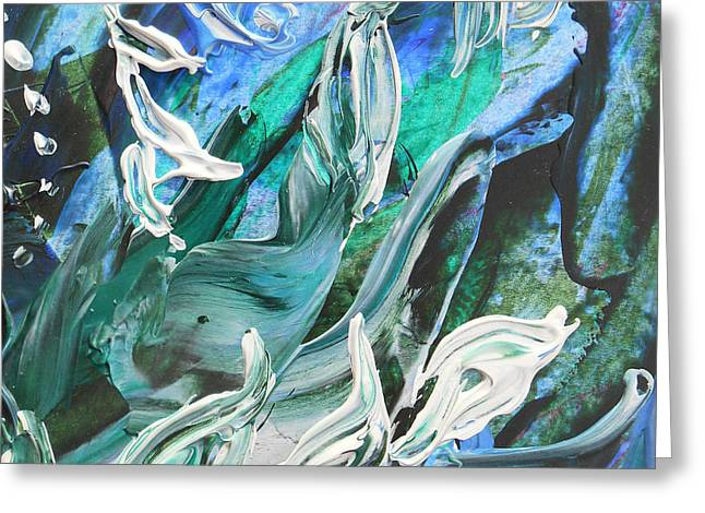 Hallway Decor Greeting Cards - Abstract Floral Water Force Greeting Card by Irina Sztukowski