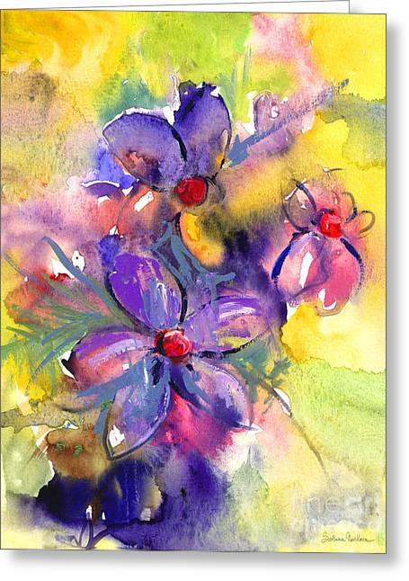 Purple Abstract Greeting Cards - abstract Flower botanical watercolor painting print Greeting Card by Svetlana Novikova