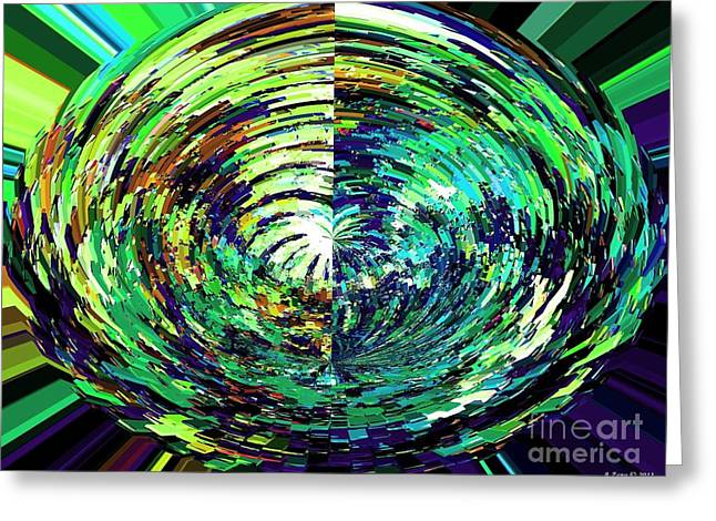 Birthstone Greeting Cards - Abstract Flower of Emerald Green Greeting Card by Annie Zeno