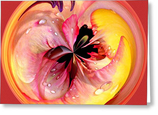 Fractal Orbs Greeting Cards - Abstract Flower Orb IV Greeting Card by Jeff McJunkin