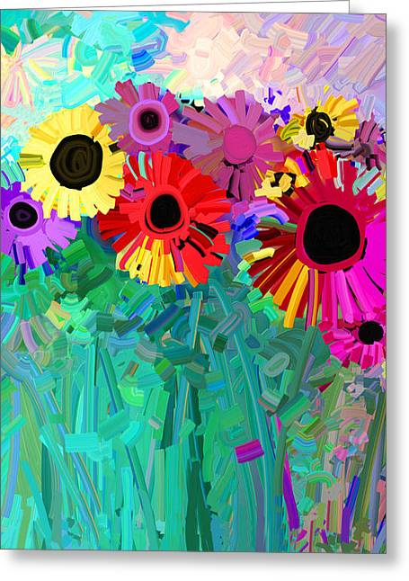 Ann Paintings Greeting Cards - abstract - flowers- Flower Power Four Greeting Card by Ann Powell