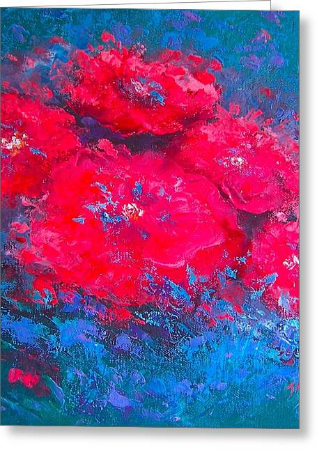 Modern Canvas Art Photo Greeting Cards - Abstract Flowers Greeting Card by Jan Matson
