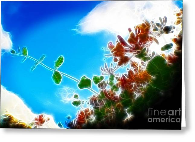 White River Scene Mixed Media Greeting Cards - Abstract Flowers Greeting Card by Michael Braham