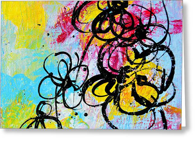 Fresh Drawings Greeting Cards - Abstract Flowers Silhouette 5 Greeting Card by Patricia Awapara