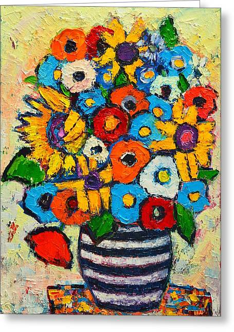 Abstract Flowers And Leaves Greeting Cards - Abstract Flowers - Sunflowers And Colorful Poppies In Striped Vase Greeting Card by Ana Maria Edulescu