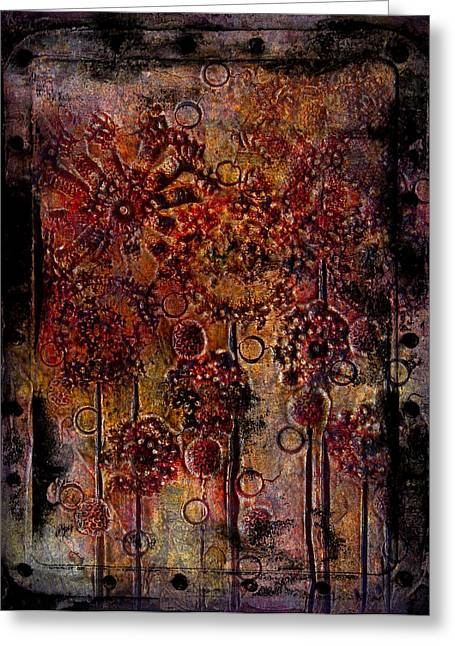 Laura Carter Greeting Cards - Abstract Flowers Textured Painting Greeting Card by Laura  Carter