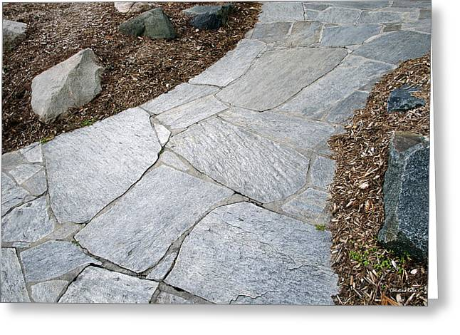 Flagstone Greeting Cards - Abstract Footpath Greeting Card by Christina Rollo