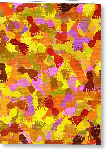 Foot-step Greeting Cards - Abstract Footprints On Canvas Greeting Card by Christina Rollo